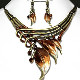 Necklace Earrings Set Leaf Brown FNE566