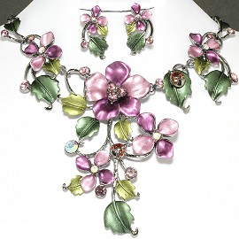 Necklace Earring Set Flower Rhinestone Purple Green FNE571