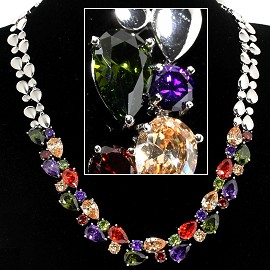 Zircon Crystal Necklace Earring Set Multi Color Silver To FNE577
