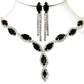 Rhinestone Necklace Earring Set Silver Obsidian Black FNE578