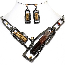 Necklace Earring Set Rectangle Dark Gray Multi Color Mix FNE580