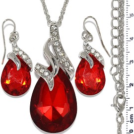 Necklace Earring Set Chain Tear Crystal Gem Silver Red FNE583