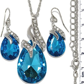 Necklace Earring Set Chain Tear Crystal Gem Silver Turquo FNE585