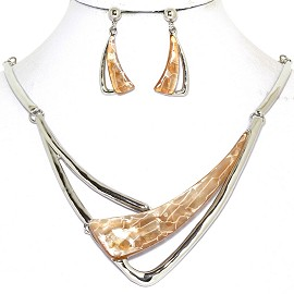 Necklace Earring Set Long Gem Shard Silver Tan LT Brown FNE586