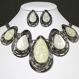 Necklace Earring Set Oval Tear Gray Cream White FNE592