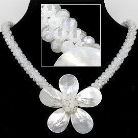 "18"" Mother Of Pearl Flower Mini Crystal Beads Frost White FNE601"