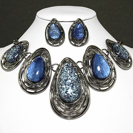 Necklace Earring Set Oval Tear Gray Dark Blue FNE605