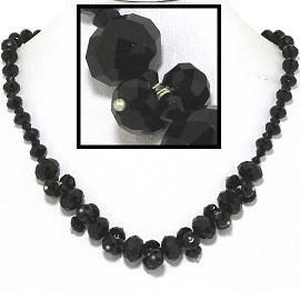 "18"" Necklace Oval Crystal Bead Magnetic Clasp Shiny Black FNE609"