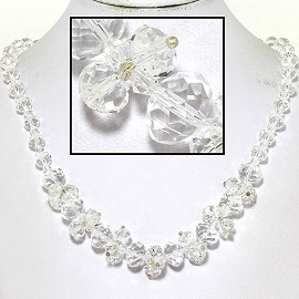 "18"" Necklace Oval Crystal Bead Magnetic Clasp Ends Clear FNE613"