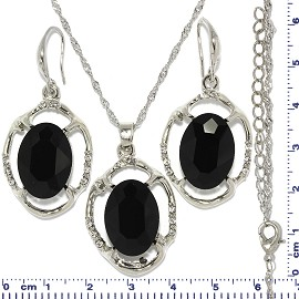 Necklace Earring Set Chain Oval Flower Gem Silver Black FNE614