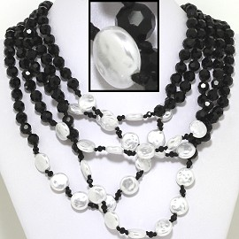 "22"" Necklace Five Line Crystal Bead Shiny Black White FNE621"