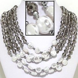 "22"" Necklace Five Line Crystal Bead Shiny ClearGray White FNE623"
