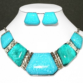 Necklace Earring Set Rectangle Turquoise Silver FNE625