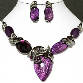 Necklace Earring Set Oval Purple Gray FNE630