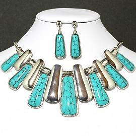 Necklace Earring Set Line Silver Turquoise FNE632