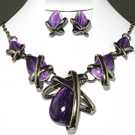 Necklace Earring Set Tear Gray Purple FNE642