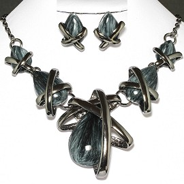 Necklace Earring Set Tear Gray Black FNE645