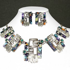 Necklace Earring Set Rectangle Silver Green Orange FNE649