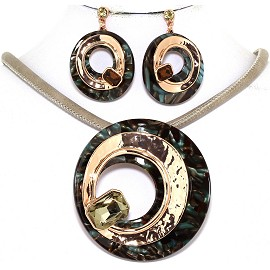 "19.5"" Necklace Earring Set Doughnut Gem Gold Tan Black FNE650"