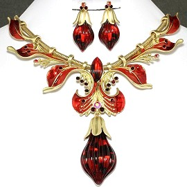 Antique Necklace Earring Set Tear Gold Red FNE658
