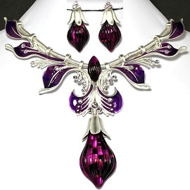 Antique Necklace Earring Set Tear Silver Purple FNE659