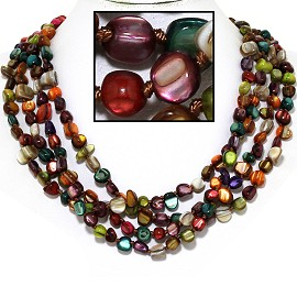"18"" Necklace Four Line Stone Crystal Bead Multi Color FNE668"