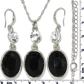 Necklace Earring Set Chain Rhinestone Oval Gem Black FNE681