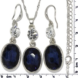 Necklace Earring Set Chain Rhinestone Oval Gem Dark Blue FNE683