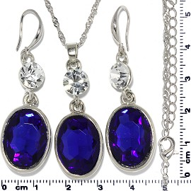 Necklace Earring Set Chain Rhinestone Oval Gem Blue FNE685