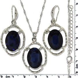 Necklace Earring Set Chain Oval Flower Gem Silver Dk Blue FNE688