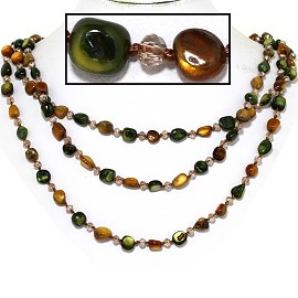 "18"" Necklace Three Line Stone Crystal Bead Green Brown Ta FNE699"