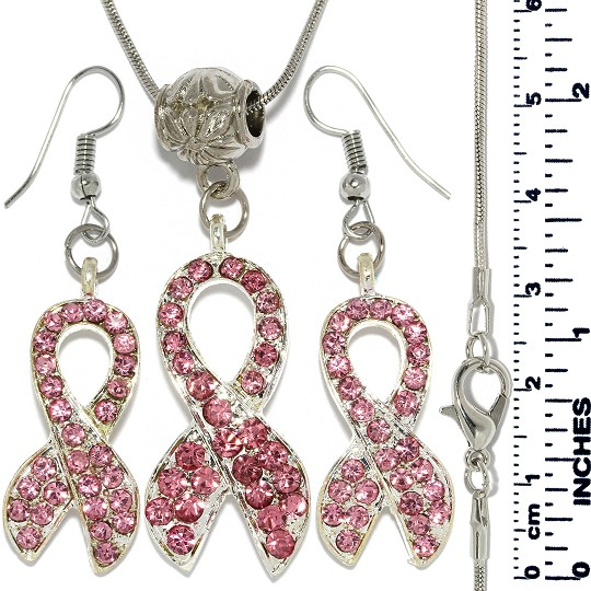 Necklace Earrings Set Rhinestones Pink Silver Tone FNE706