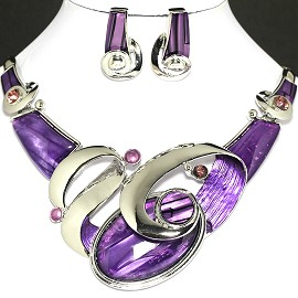 Necklace Earring Set Oval Purple Silver FNE708