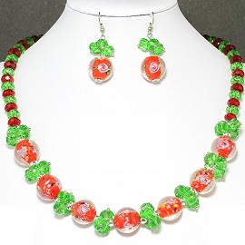 "19"" Crystal Glass Necklace Earring Rose Red Green FNE709"
