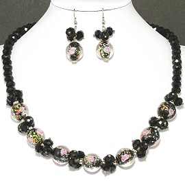 "19"" Crystal Glass Necklace Earring Black Rose FNE710"