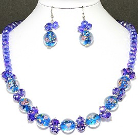 "19"" Crystal Glass Necklace Earring Blue Rose FNE711"