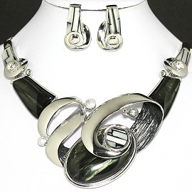 Necklace Earring Set Oval Gray Black Silver FNE717