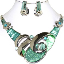 Necklace Earring Set Oval Turquoise Silver FNE718