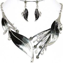 "20"" Necklace Earring Set Leaf Black Gray White Tone FNE728"