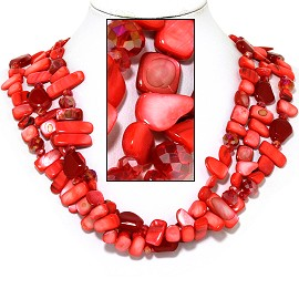 "20"" Necklace Three Line Flat Stone Bead Red Maroon FNE733"