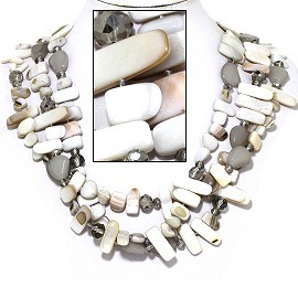 "20"" Necklace Three Line Flat Stone Bead White Gray FNE734"