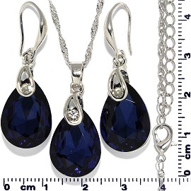 Necklace Earring Set Chain Teardrop Gem Silver Dark Blue FNE735