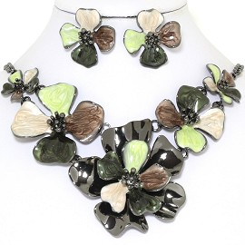 "19"" Necklace Earring Set Flower Lime Brown Tan Black FNE736"