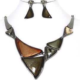 "19"" Necklace Earring Set Triangles Brown Dark Gray Tone FNE740"