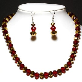 "18"" 10mm Crystal Set Necklace + Earrings Gold Red FNE742"
