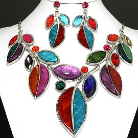 Necklace Earring Set Leaf Split Multi Color FNE743