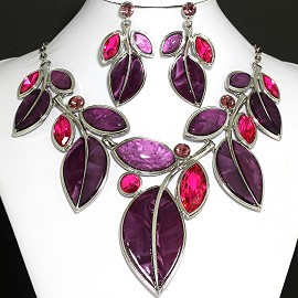 Necklace Earring Set Leaf Split Purple Magenta FNE744