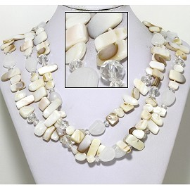 "20"" Necklace Three Line Flat Stone Bead White Ivory Tan FNE745"