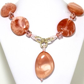 "23"" Necklace Smooth Acrylic Stone Crystal Cube Pink Peach FNE747"