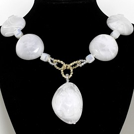 "23"" Necklace Smooth Acrylic Stone Crystal Cube White FNE748"